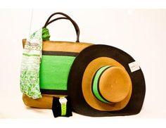 Conjuntos: bolso verde y pamela con foulard de modal