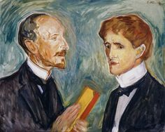 Albert Kollmann and Sten Drewsen, 1901 by Edvard Munch (Norwegian 1863–1944) -  oil on canvas 59 x 73.5 cm Hamburger Kunsthalle, Germany