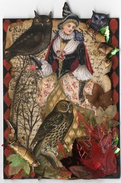 "another inspiring ATC by Laura Carson for the ""Owl Hollow"" ATC swap at VPI Yahoo Group."