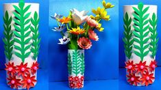 How to Make Paper Flower Vase Paper Flower Vase, Flower Vases, Green Paper, Origami Paper, How To Make Paper, Paper Crafts, Easy, Paper Flowers, Paper