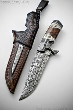André Andersson Custom Damascus Knives - Knives, Daggers, Swords and Artknives from Sweden / Weapon Swords And Daggers, Knives And Swords, Damascus Knife, Damascus Steel, Katana, Lame Damas, Beil, Cool Knives, Knife Sheath