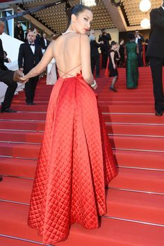 Bella Hadid attends the 'Okja' premiere during the 70th annual Cannes Film Festival at Palais des Festivals on May 19 2017 in Cannes France