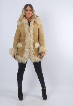 Sheepskin Shearling Suede Afghan Coat Jacket UK 8-10 (J1U)   Bich   ASOS Marketplace