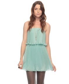 Pleated mint dress