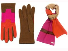 colour-blocked gloves and scarf by Echo designs