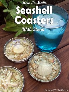 The coolest DIY seashell coasters, made from jar lids and pour-on resin. Learn how to Make Seashell Coasters with Jar Lids & Resin at R. Diy Resin Crafts, Jar Crafts, Diy Crafts To Sell, Diy Resin Ideas, Etsy Crafts, Wooden Crafts, Felt Crafts, Diy Resin Casting, How To Make Resin