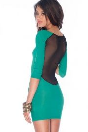 What a Mesh Dress in Green - $36.00