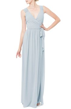 Main Image - Ceremony by Joanna August 'Newbury' Gathered Sleeve Chiffon Wrap Gown