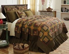 Tea Cabin 4 Piece Queen Quilt Set * Check this awesome product by going to the link at the image. Country Bedding, Country Quilts, Rustic Bedding, Primitive Bedding, Primitive Quilts, Country Curtains, Primitive Homes, Twin Quilt, Quilt Bedding