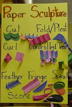 Teaches students the different types of ways they can fold a paper to create a art -individualPaper sculpture extras Pinned by kathy d.Paper sculpture--have students practice all techniques and label their examples on one reference sheet for laterPap Sculpture Lessons, Sculpture Projects, Art Sculpture, Sculpture Techniques, Paper Sculptures, Sculpture Ideas, Collage Techniques, Kindergarten Art, Preschool Art