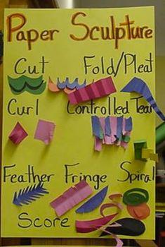 Paper Techniques 3d paper, kids sculpture projects, kids art lessons, paper sculpture kids, anchor charts, paper techniqu, paper weaving projects kids, paper sculptures, school fun