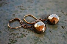 Pyrite Dangles by KTATDesigns on Etsy, $20.00