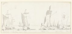 Willem van de Velde (I) | Vertrek van de Engelse koning Karel II tijdens zijn tocht over de Thames naar Sheerness en Chatham op 27 Augustus 1681, Willem van de Velde (I), 1681 |