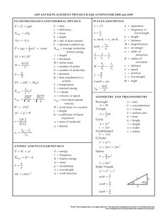 Physics equations - Fluid mechanics, Thermal, Atomic, Nuclear, Geometry, Trigonometry