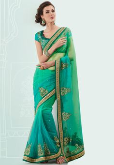 Shaded #Parrot #Green and Turquoise #Green Net #Saree with Blouse @ $111.74