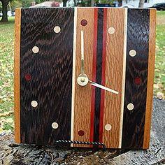 TG Exotic Wood Clocks - Retro Style - Wenge, Goncalo Alves, Bloodwood, and Ash