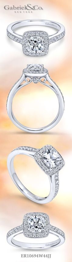 Gabriel NY - Preferred Fine Jewelry and Bridal Brand. Vintage 14k White Gold Cushion Cut Halo Engagement Ring. A dazzling halo of pave diamonds accented with diamond filled channels are met with sophisticated scroll work beneath your center stone.Find your nearest retailer-> https://www.gabrielny.com/storelocator