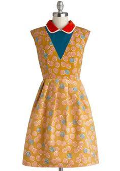 Lauren Moffatt Croquet Madame Dress by Lauren Moffatt - Mid-length, Woven, Yellow, Red, Blue, White, Print, Pockets, Casual, A-line, Sleevel...
