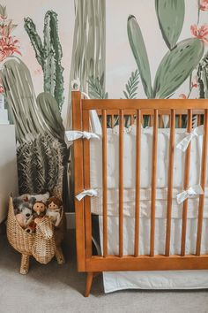 Today we are sharing every detial of our twin girls cactus themed desert oasis twin nursery! Come join us and step into a little desert oasis! Nursery Twins, Nursery Themes, Nursery Room, Nursery Decor, Themed Nursery, Nursery Ideas, Room Ideas, Western Nursery, Green Wall Clocks
