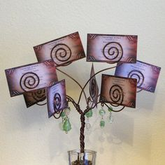 Wire Tree - card holder - photo display - wedding centerpiece - brown - green via Etsy