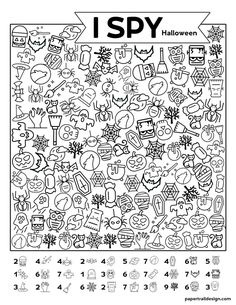 Free Printable I Spy Halloween Activity - Paper Trail Design Free Printable I Spy Halloween Activity. Print this fun Halloween I spy game for a classroom party game or church harvest party. Holiday Activities, Classroom Activities, Activities For Kids, Therapy Activities, Group Activities, Halloween Crafts For Kids, Halloween Fun, Halloween Puzzles, Halloween Pictures