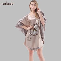37380e8f42 2017 Plus Size Summer Women Nightgown Sleepwear Faux Silk Ladies Robe Home  Bathrobe Short Sleeve Sexy Night Dresses