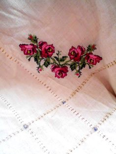 Natural linen rose embroidered tablecloth - natural fabric tablecloth - cream by crochets4world on Etsy