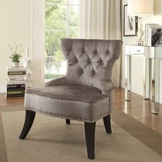 The new Colton Chair by Ave Six really sets the stage for all kinds of drama. Whether entertaining friends, romancing your beau, or carousing around the house with your best friend, this chair instantly sparks interest via its easy-care button tufted brilliance fabric that features an heirloom style sheen. Nothing but classic elegance, this sinuous spring seating solution provides for a cozy place to sit and converse about the latest neighborhood scandal, check your social media feeds, or…