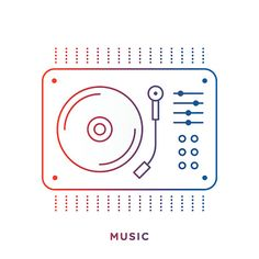Vinyl Turntable Symbol Gramophone Record, Line Icon, Gradient Color, Vinyl Turntable, Symbols, Stock Photos, High Resolution Picture, Glyphs, Icons