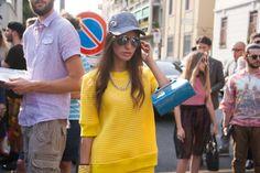 Milan Fashion Week Yellow Outfit Streetstyle Sunglasses Porsche Design Dodo Said