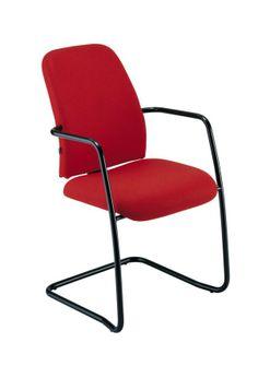 REact - bezoekersstoel gestoffeerd met open armleuningen en geëpoxeerd slede onderstel