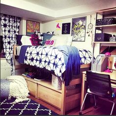 Loving this small space style at Penn State's Alpha Sigma Alpha - Featuring the Indigo-go collection and assorted pillows