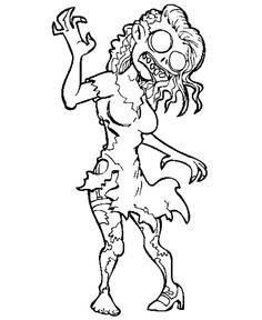 Crazy Zombie coloring For Kids - Halloween cartoon coloring pages