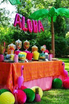 Luau, Hawaii, Beach Graduation/End of School Party Ideas Aloha Party, Luau Theme Party, Hawaiian Luau Party, Hawaiian Birthday, Hawaiian Theme, Tiki Party, Festa Party, Party Candy, Kids Luau Parties