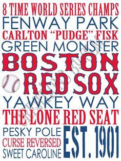 Subway Art  Boston Red Sox Baseball.'Rustic' by CreationsbyCLM, $30.00