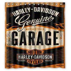 New Custom Bathroom Decor Shower Curtain Harley Davidson Garage    Http://home