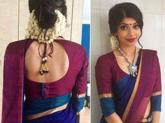 Blouse stitching done for my beautiful niece 😍 Hair and makeup done by herself.A bit of mess adds up the beauty.Fashionable saree blouses long sleeves Want to know more _Elegant colors and elegant style.Lovely sari blouse sleeveless Read about Cotton Saree Blouse Designs, Blouse Back Neck Designs, Fancy Blouse Designs, Saree Blouse Patterns, Latest Saree Blouse Designs, Indian Blouse Designs, Traditional Blouse Designs, Blouse Batik, Silk Cotton Sarees