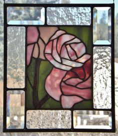 Stained Glass Panel Pink Roses Spring Flower Window Decor Suncatcher Easter Mothers Day