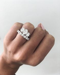 Diamond Wedding Rings Beautiful trilogy diamond engagement ring perfectly matched with a half eternity ring ✨ Wedding Rings Solitaire, Bridal Rings, Vintage Engagement Rings, Wedding Bands, 3 Diamond Engagement Rings, Trilogy Engagement Ring, Engagement Bands, Wedding Engagement, Cubic Zirconia Engagement Rings