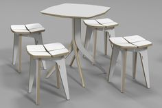 tetra stool & table / plywood furniture /  3D DESIGN / cnc router / 유창석 www.joinxstudio.com