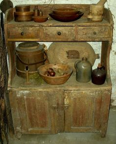 ANTIQUE c1780-1820 PRIMITIVE BUCKET BENCH CUPBOARD RED PAINT CHESTER CTY PA vafo in Antiques, Primitives | eBay