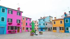A piazza in Burano, Italy, the most colorful town in Europe