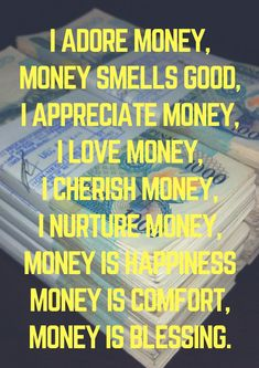 Money is bringing happiness, security and peace of mind to me. Wealth Affirmations, Morning Affirmations, Law Of Attraction Affirmations, Positive Affirmations, Positive Thoughts, Positive Quotes, Law Of Attraction Money, Money Quotes, Money Meme