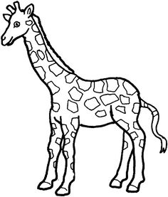 SIMPLE GIRAFFE OUTLINE | Print out and color pictures of a variety of animals