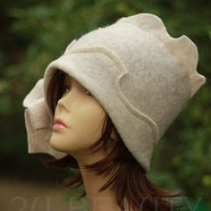 Ivory Cloche Hat Flapper Womens Hat Downton Abby Hat Freeform