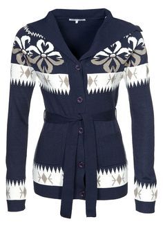 navy with flower design cardigan