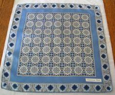 CHRISTIAN DIOR Silk SCARF Blue 185 Geometric by RockArtemisVintage, $38.00