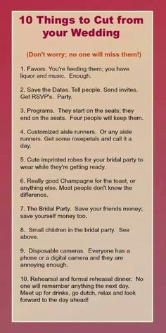 10 things to leave out of wedding