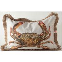 Crab w/ Jute Fringe Lumbar Pillow