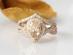 6x8mm Pear Morganite Ring Set 14k Rose Gold by FancyCoDesigns